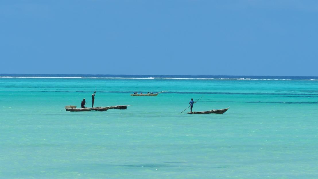 Fishermen on lagoon